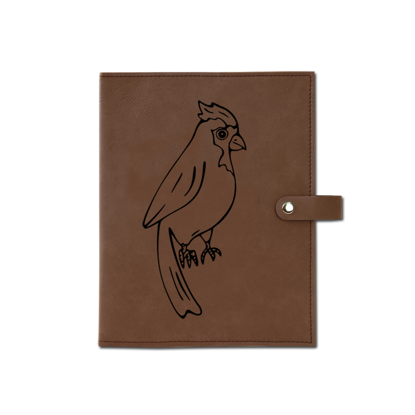 Personalized leatherette book / bible cover with custom engraved bird design 2 and text.