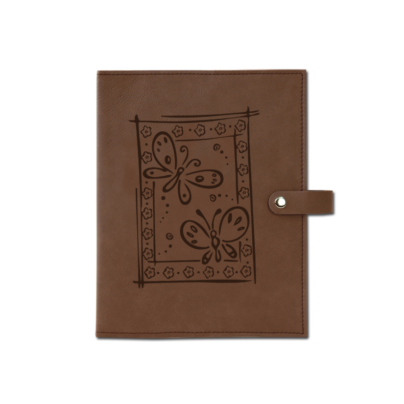 Personalized leatherette book / bible cover with custom engraved butterfly design and text.