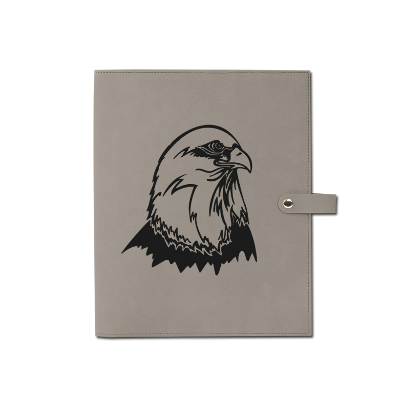 Personalized leatherette book / bible cover with custom engraved eagle design and text.