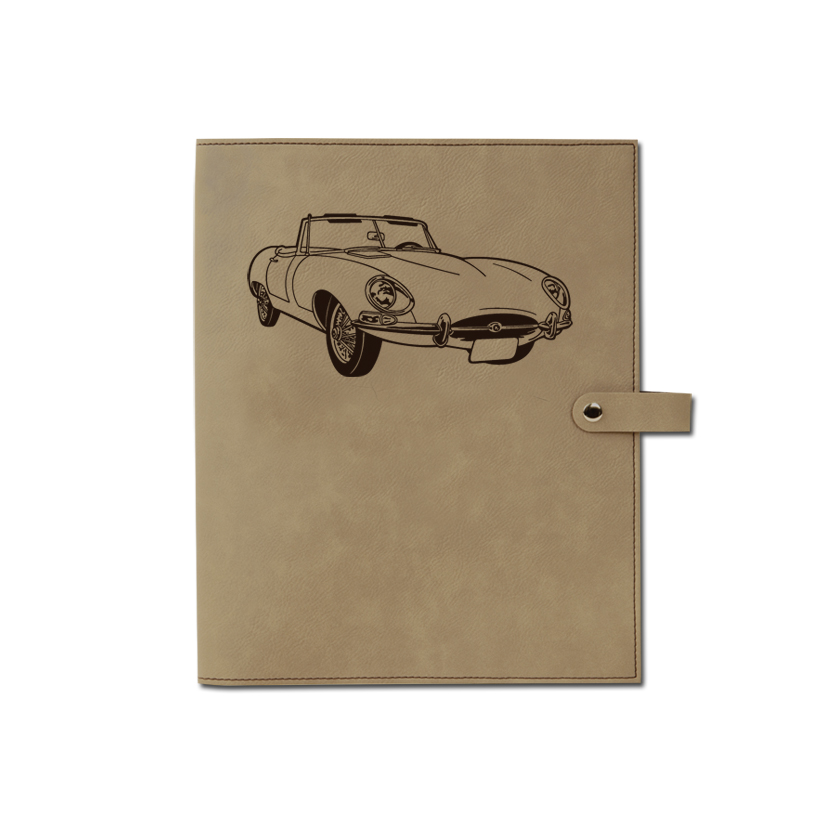 Personalized leatherette book / bible cover with custom engraved automobile design and text.