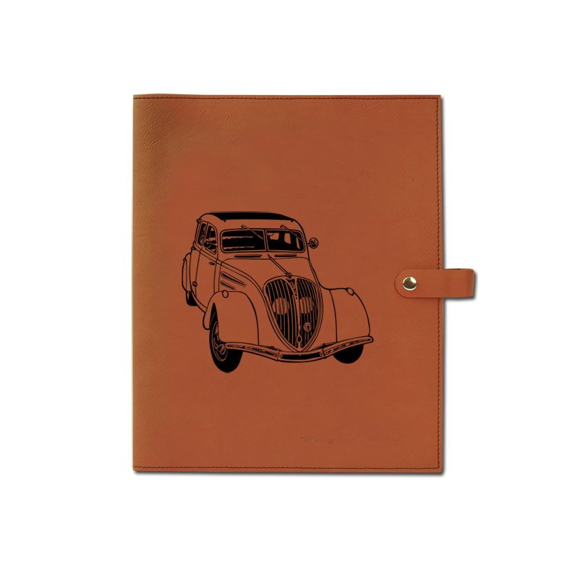 ersonalized leatherette book / bible cover with custom engraved automobile design 2 and text.