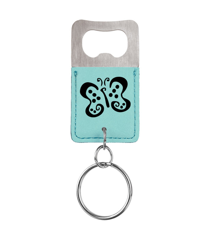 Personalized leatherette bottle opener keychain with butterfly design and custom engraved text.