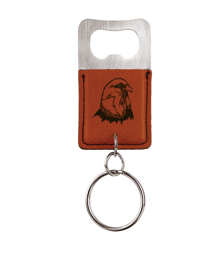 Personalized leatherette bottle opener keychain with eagle design and custom engraved text.