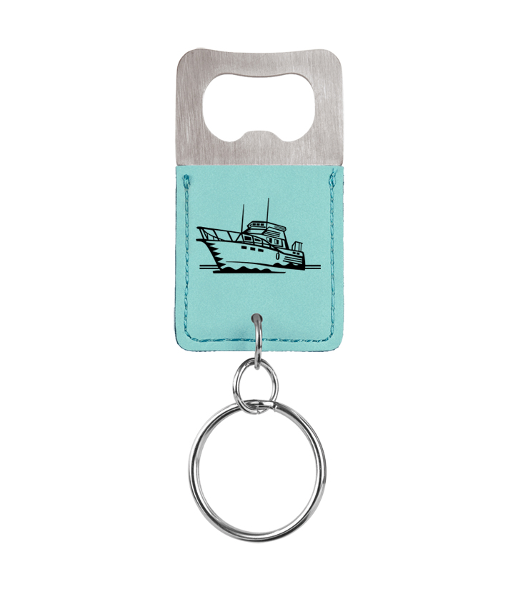 Personalized leatherette bottle opener keychain with boat design and custom engraved text.