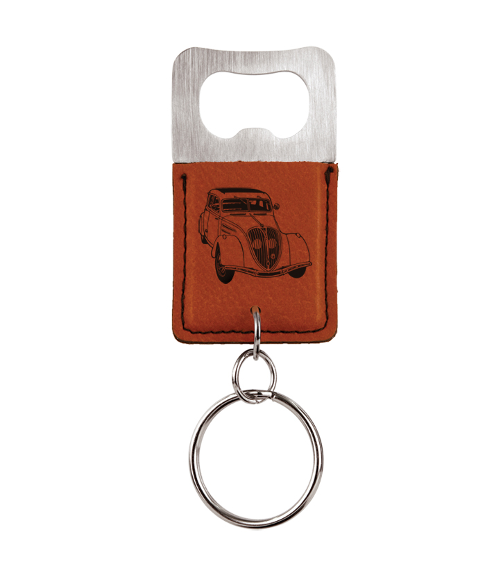Personalized leatherette bottle opener keychain with automobile design 2 and custom engraved text.