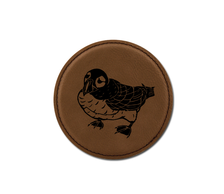 Personalized bird design leatherette coaster with custom engraved text