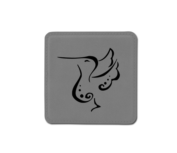 Personalized bird design 2 leatherette coaster with custom engraved text