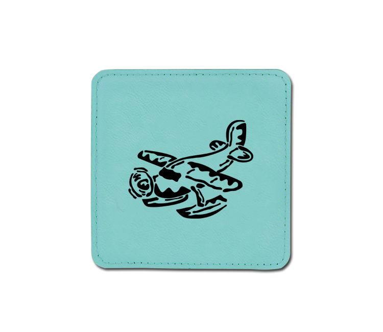 Personalized airplane design leatherette coaster with custom engraved text