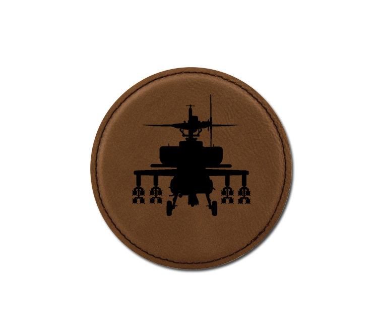 Personalized helicopter design leatherette coaster with custom engraved text