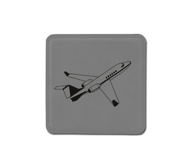 Personalized jet design leatherette coaster with custom engraved text