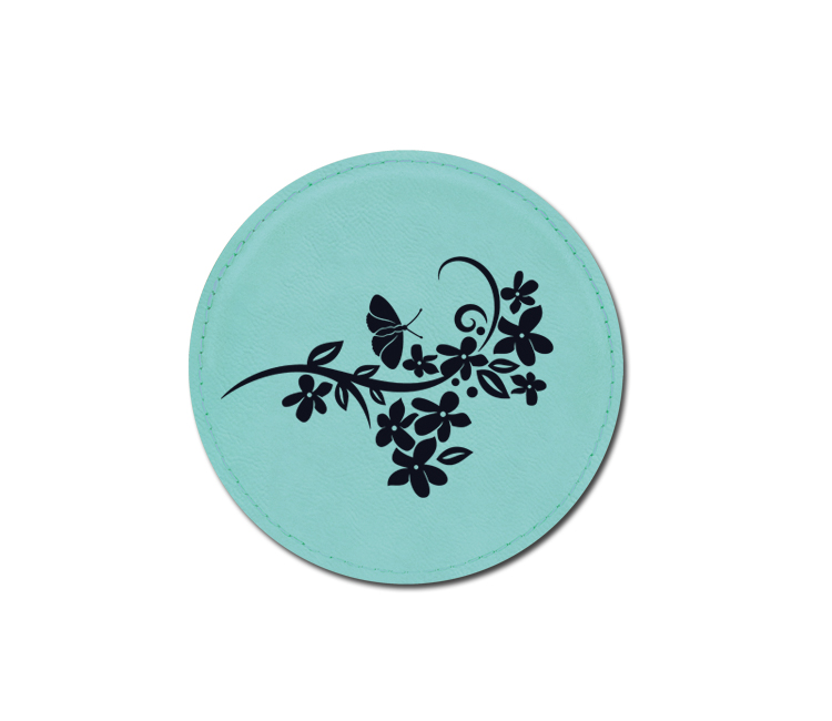 Personalized flower design leatherette coaster with custom engraved text.