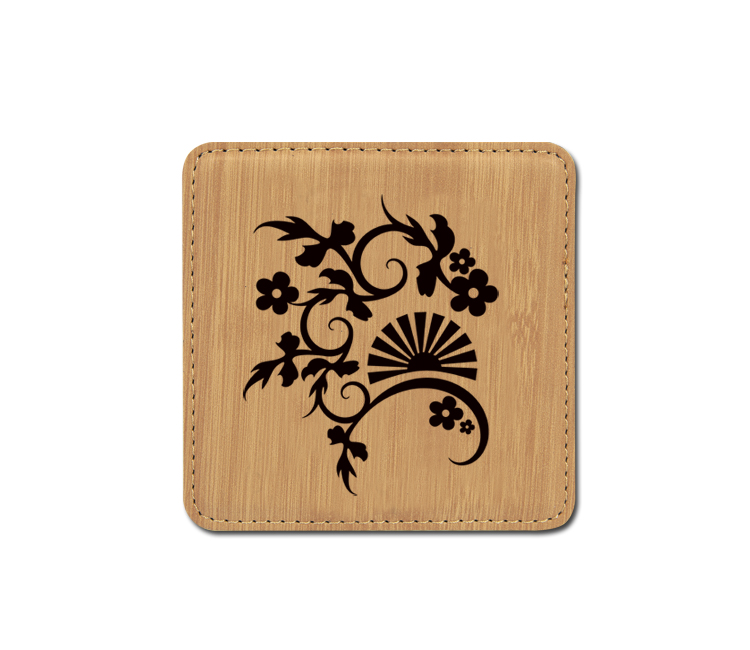 Personalized flower design 2 leatherette coaster with custom engraved text.