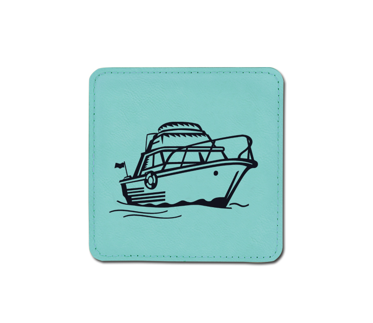 Personalized boat design leatherette coaster with custom engraved text.