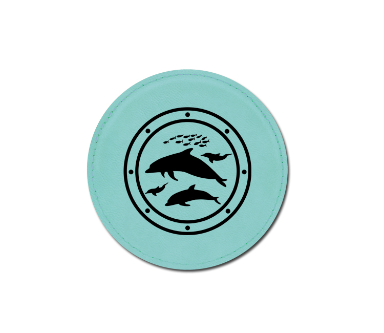 Personalized marine life design leatherette coaster with custom engraved text