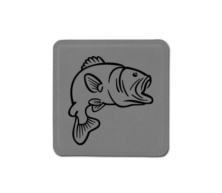 Personalized marine life design 2 leatherette coaster with custom engraved text