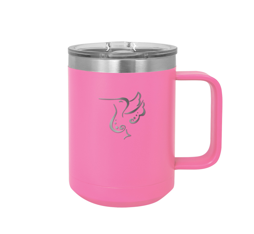Stainless steel insulated mug with personalized engraved text and bird design 2.
