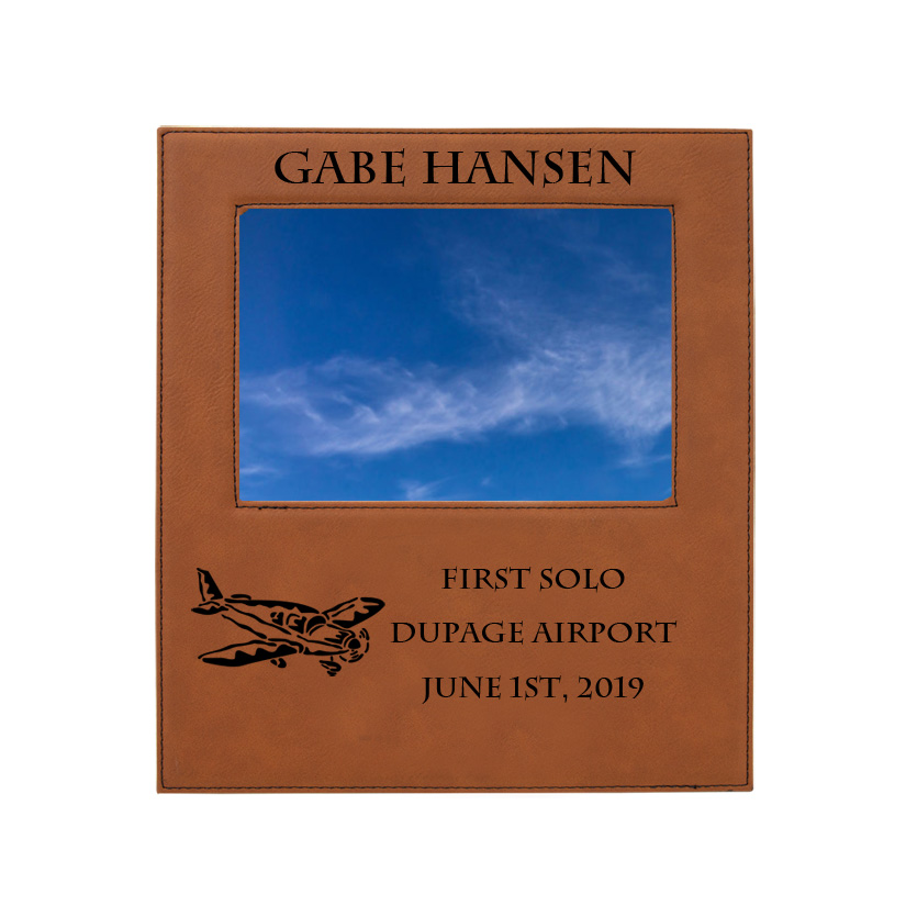 Personalized photo frame plaque with your choice of airplane design and custom engraved text.
