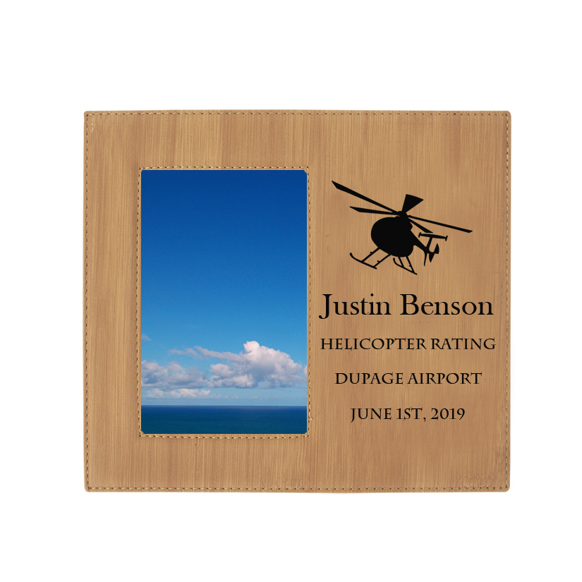 Personalized photo frame plaque with your choice of helicopter design and custom engraved text.