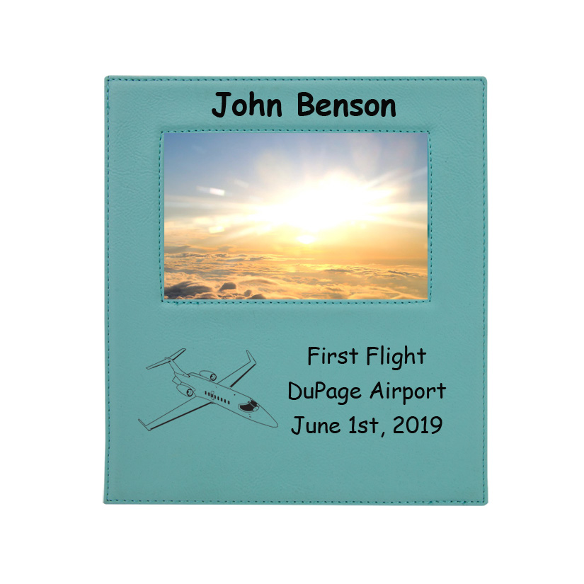 Personalized photo frame plaque with your choice of jet design and custom engraved text.