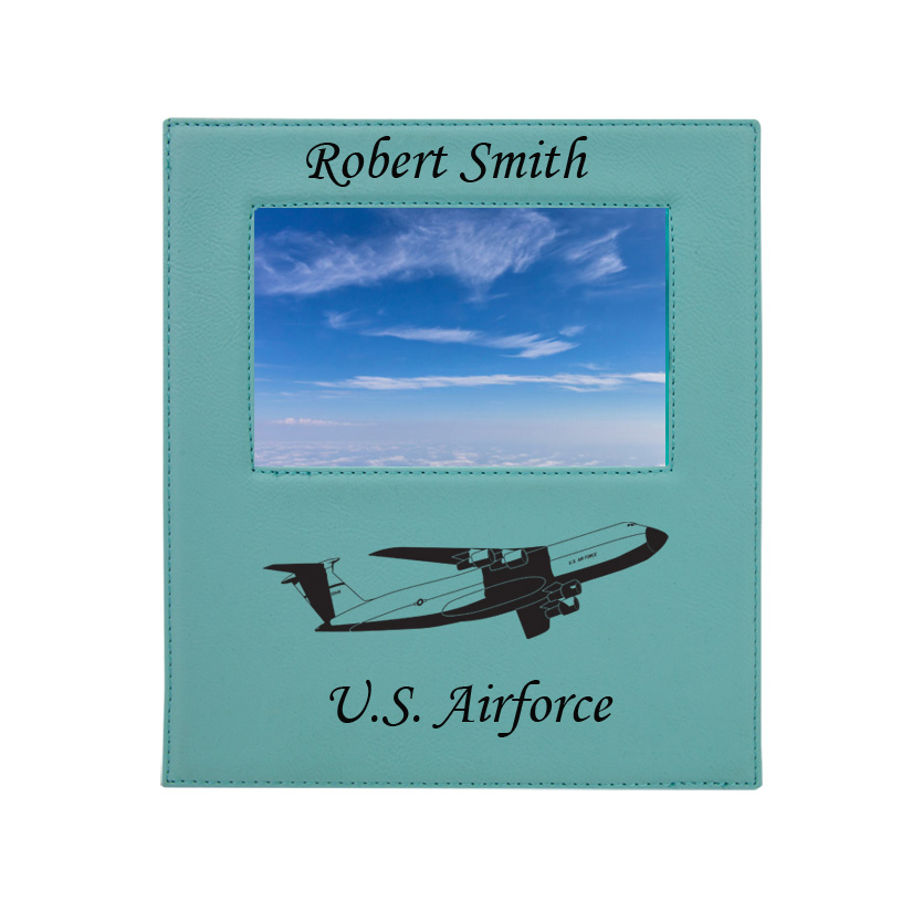 Personalized photo frame plaque with your choice of military aircraft design and custom engraved text.