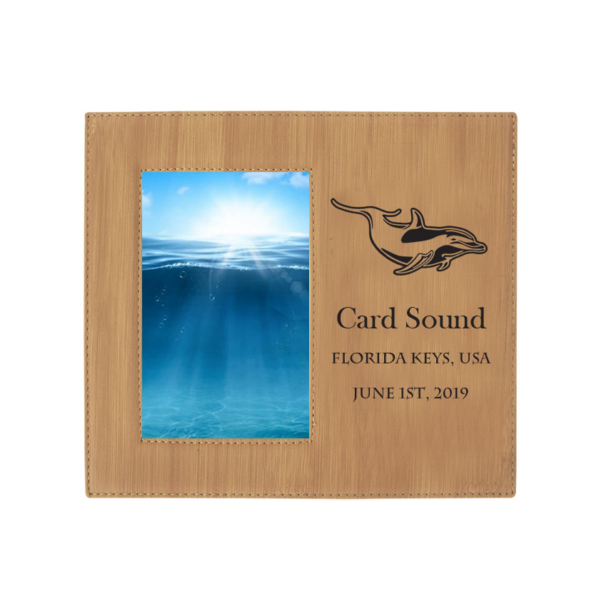 Personalized photo frame plaque with your choice of marine life design and custom engraved text.