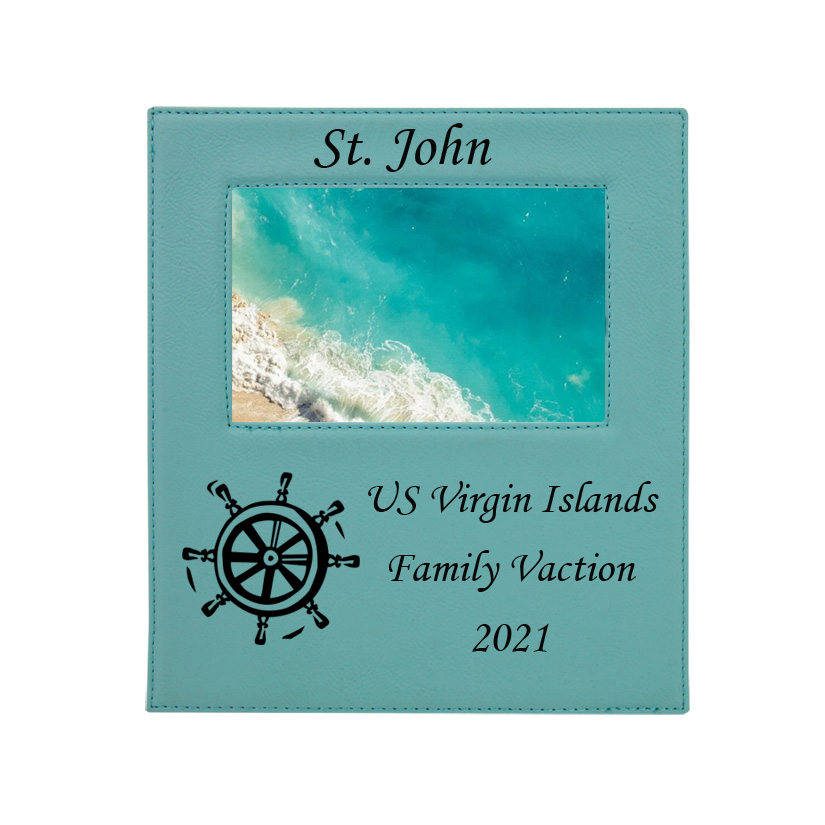 Personalized photo frame plaque with your choice of nautical design and custom engraved text.