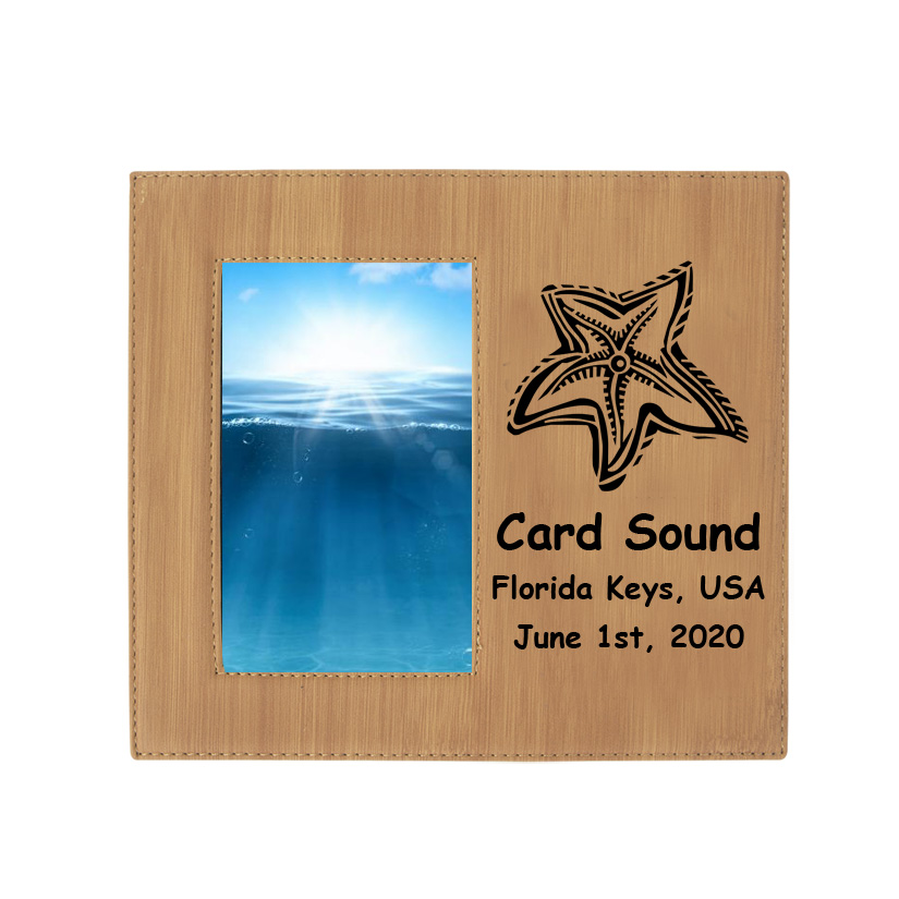 Personalized photo frame plaque with your choice of nautical design 2 and custom engraved text.