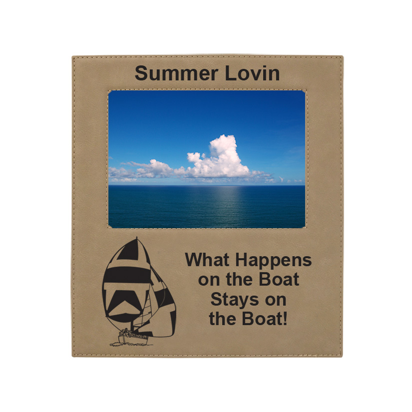 Personalized photo frame plaque with your choice of sailboat design and custom engraved text.