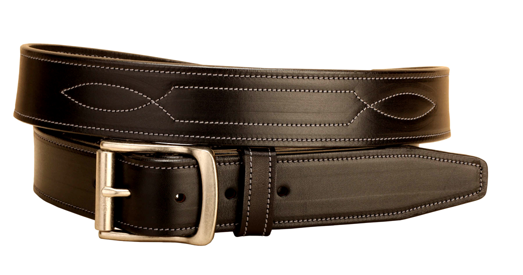 "Fancy stitched 1 1/2"" wide bridle leather belt."