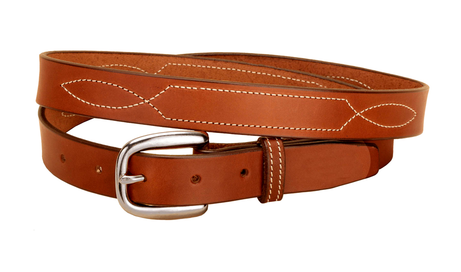 "Fancy stitched 1"" wide bridle leather belt."
