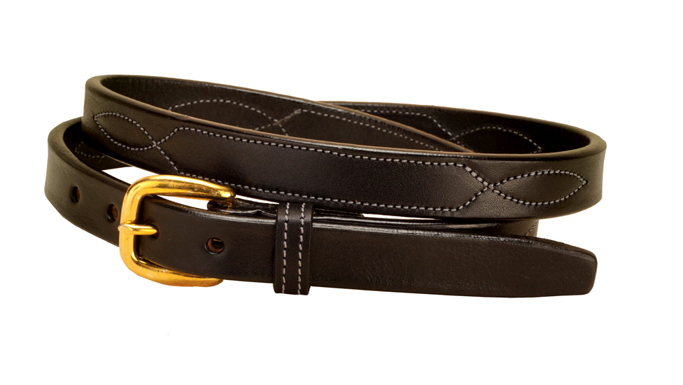 "Fancy stitched 3/4"" wide bridle leather belt."