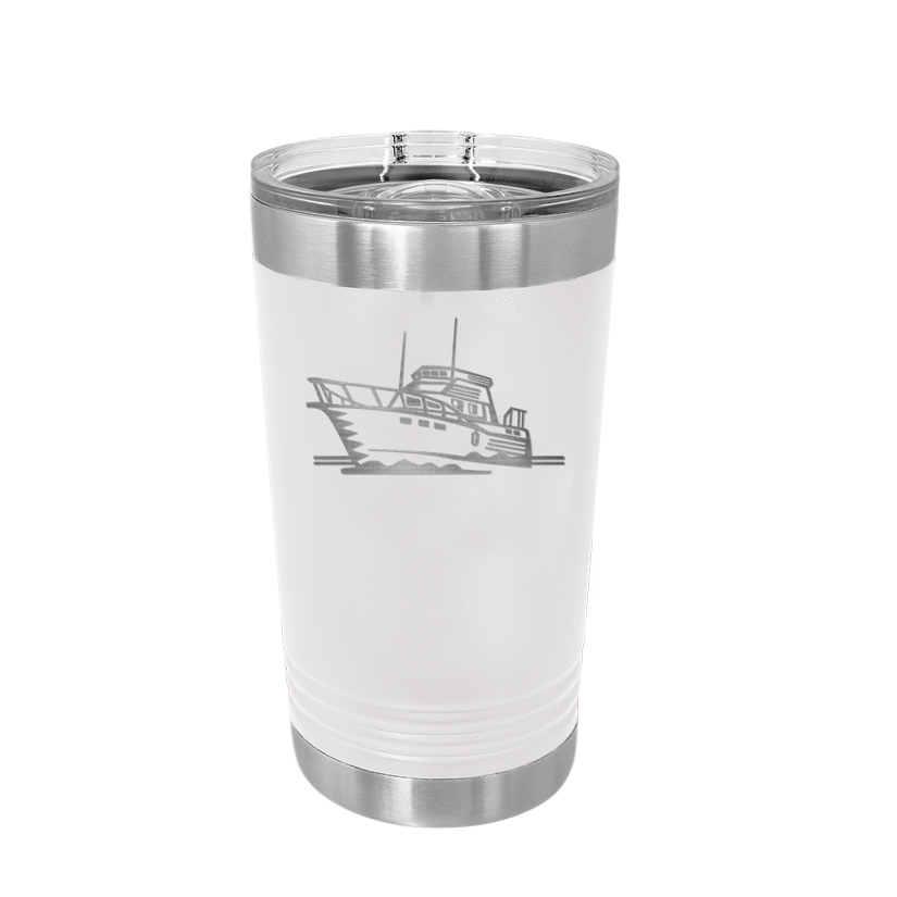 Personalized stainless steel polar camel pint glass with custom engraved text and a boat design.