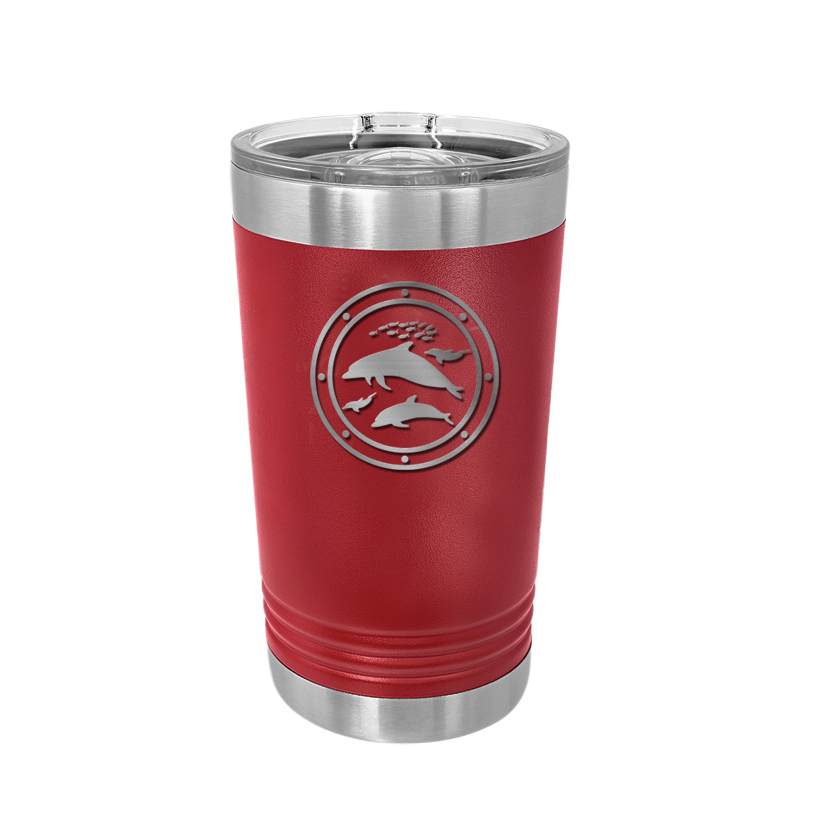 Custom engraved stainless steel pint glass with personalized text and a marine life design.