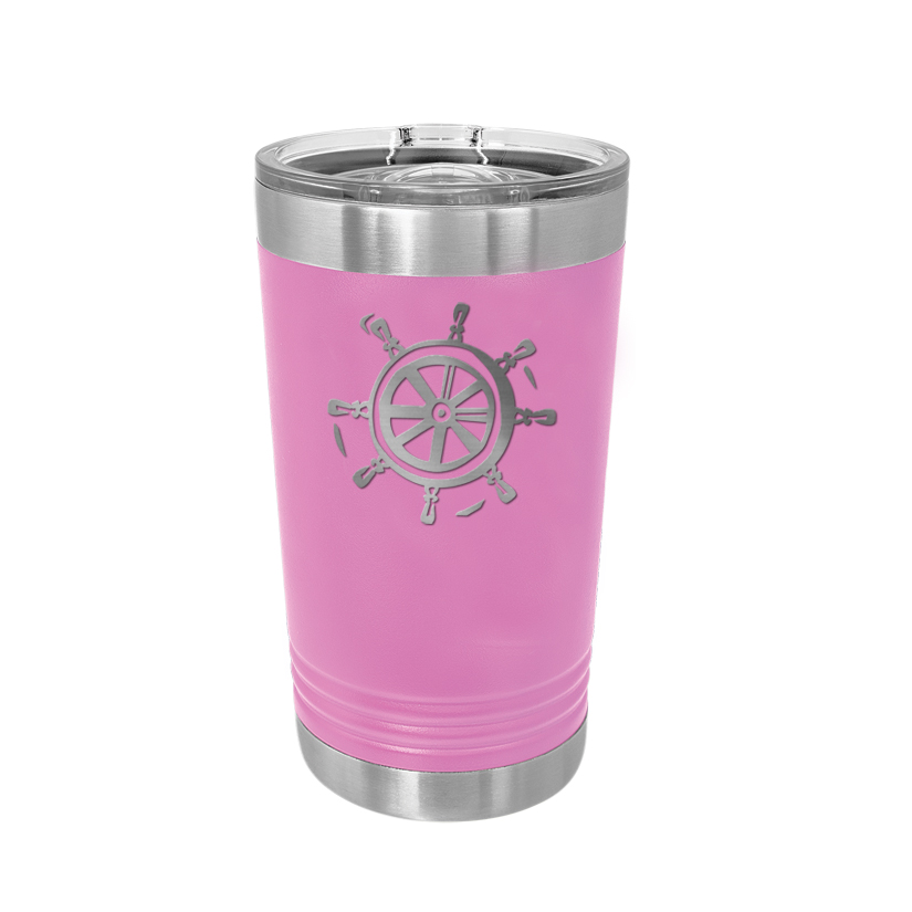 Custom engraved stainless steel pint glass with personalized text and a nautical design.