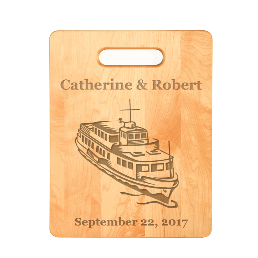 Custom engraved maple cutting board with engraved boat design of your choice. For a more personalized cutting board you can add engraved text