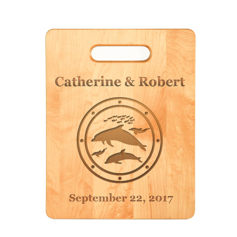 Custom engraved maple cutting board with engraved marine life design of your choice.