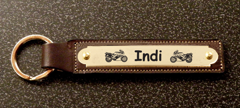 Personalized leather motorcycle design nameplate key fob .