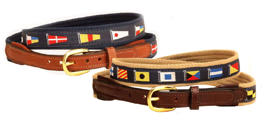 Narrow nautical ribbon belt with leather billets. Makes a great nautical themed gift.