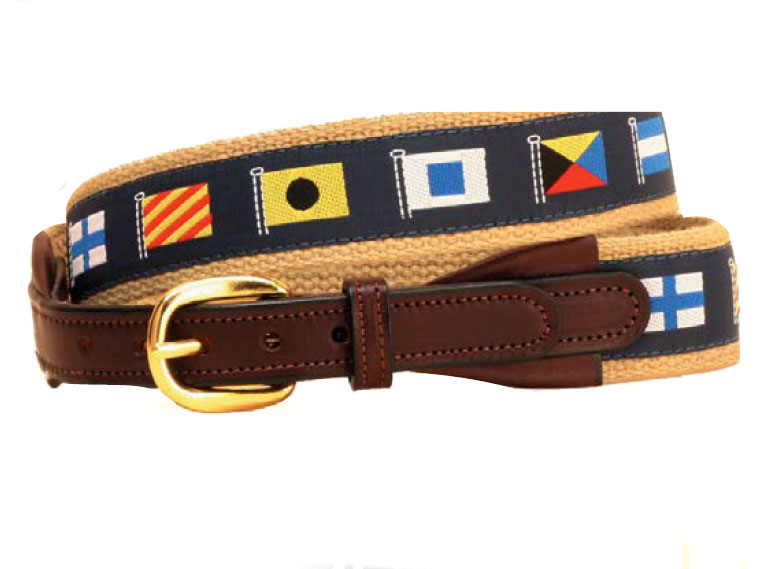Nautical ribbon belt with leather billets. Makes a great nautical themed gift.