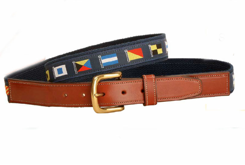 Nautical ribbon belt with square end leather billets. Makes a great nautical themed gift.