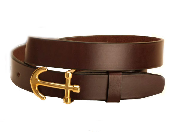 Leather belt with a nautical anchor buckle.