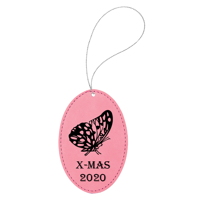 Personalized engraved leather Christmas ornament with custom text and a butterfly design of your choice.