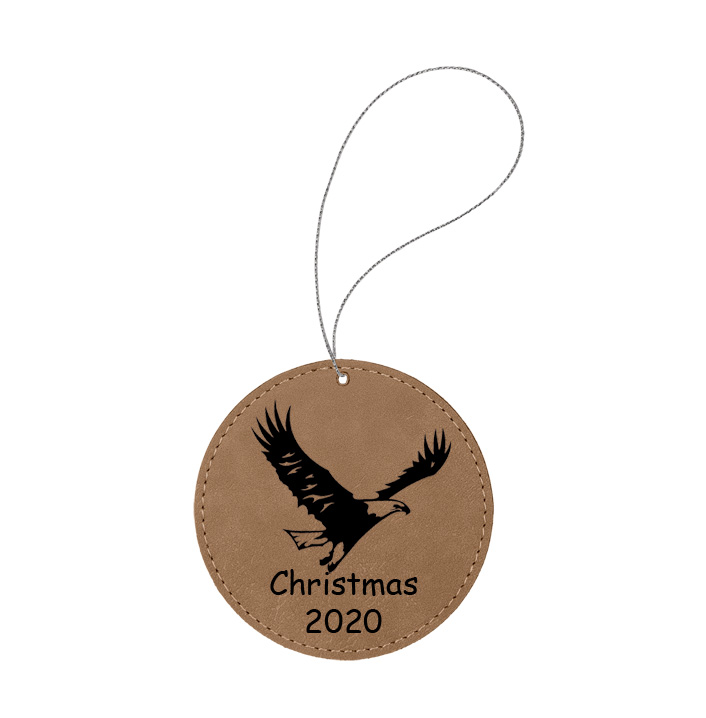 Personalized engraved leather Christmas ornament with custom text and a eagle design of your choice.