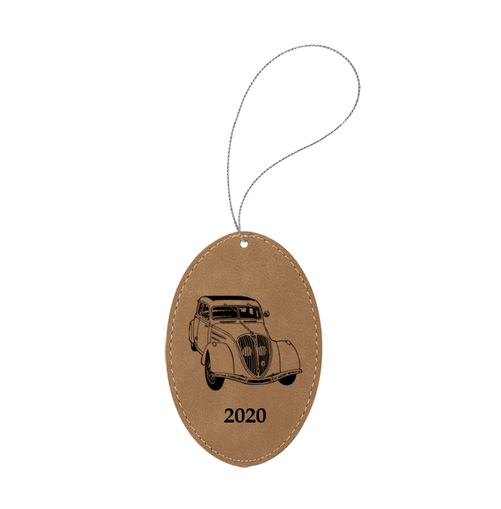 Personalized engraved leather Christmas ornament with custom text and a automobile design 2 of your choice.
