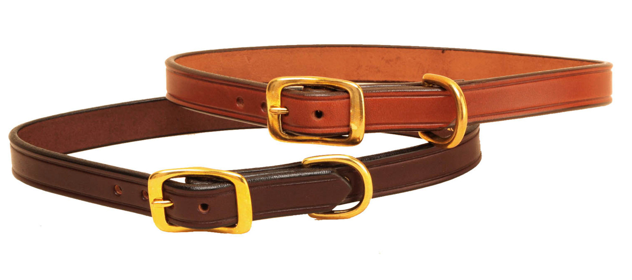 "3/4"" Flat English bridle leather dog collar with solid brass hardware."