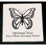 Custom Engraved Ceramic Trivet with Butterfly Design