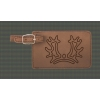Leatherette luggage tag with custom engraved horse breed logo.