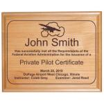 Custom Engraved Pilot Certificate Alder Wood Plaque