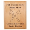 Personalized alder wood plaque with custom engraved horse breed logo and text.