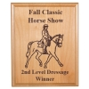 Personalized alder wood plaque with custom engraved horse design and engraved text.